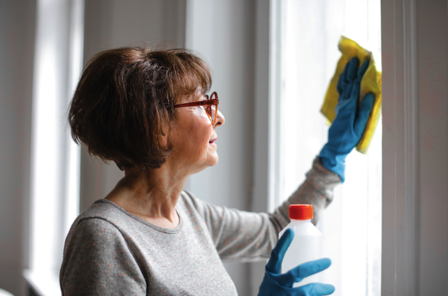 A woman cleaning the windows